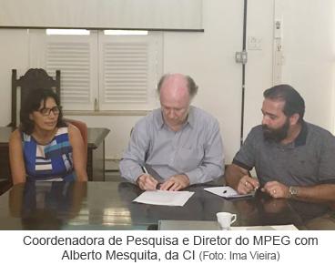 Coordenadora de Pesquisa e Diretor do MPEG com Alberto Mesquita, da CI