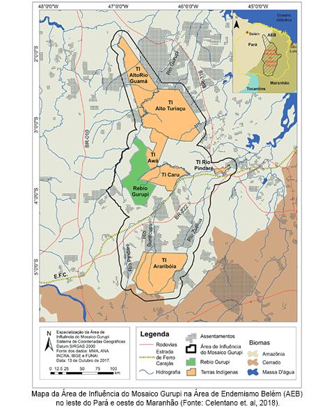 Mapa da Área de Influência do Mosaico Gurupi