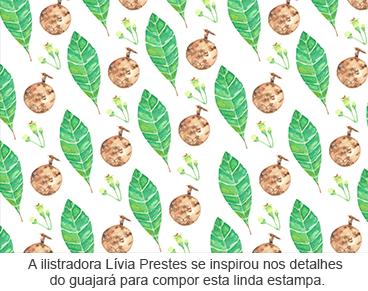 A ilustradora Lívia Prestes se inspirou nos detalhes do Guajará para compor esta linda estampa