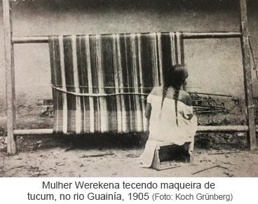 Mulher Werekena tecendo maqueira de tucum, no rio Guainía, 1905