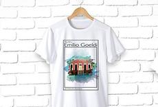 Imagem de camisa branca com ilustração do prédio da Rocinha que fica no Parque Zoobotânico do Museu Goeldi