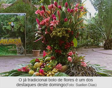 O já tradicional bolo de flores é um dos destaques deste domingo