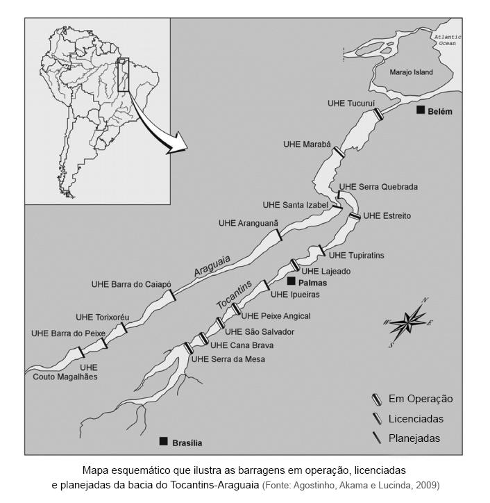 Mapa esquemático que ilustra as barragens em operação, licenciadas e planejadas da bacia do Tocantins-Araguaia