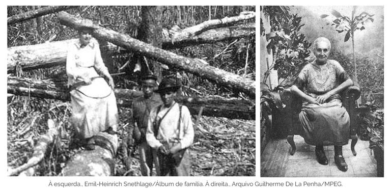À esquerda, Emil-Heinrich Snethlage/Álbum de família. À direita, Arquivo Guilherme De La Penha/MPEG.