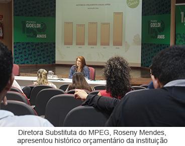 Diretora Substituta do MPEG, Roseny Mendes,  apresentou histórico orçamentário da instituição