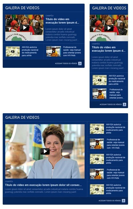 Módulos de galeria de vídeos